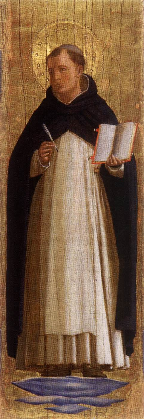 Artwork: St. Thomas Aquinas, by Fra Angelico. Tempera on wood, 1340-45; Collezione Vittorio Cini, Venice.
